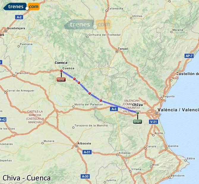 Ingrandisci la mappa Treni Chiva Cuenca
