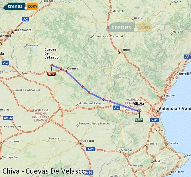 Enlarge map Trains Chiva to Cuevas De Velasco