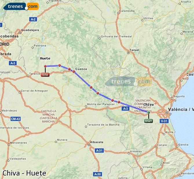 Enlarge map Trains Chiva to Huete