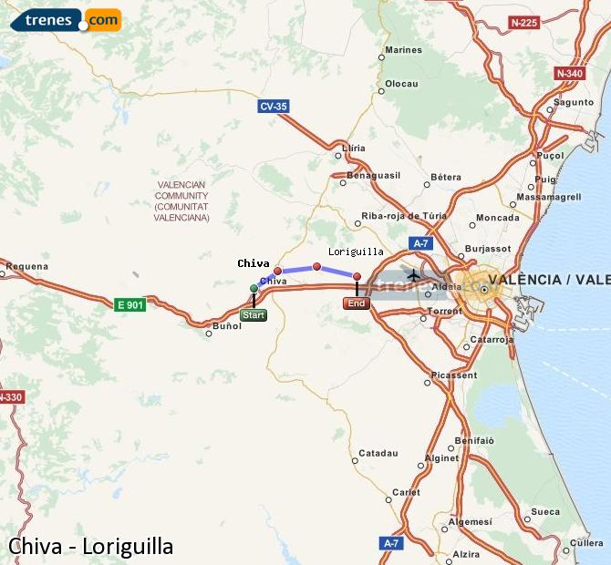 Enlarge map Trains Chiva to Loriguilla