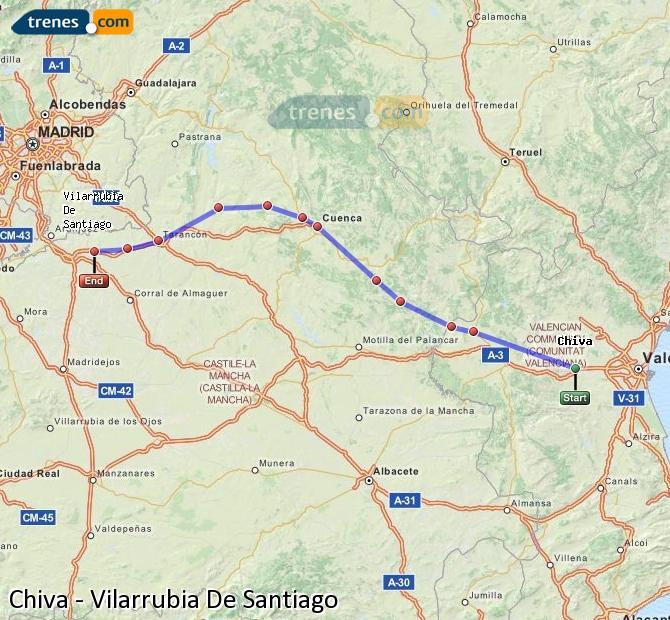 Ingrandisci la mappa Treni Chiva Vilarrubia De Santiago