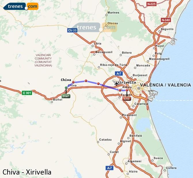 Enlarge map Trains Chiva to Xirivella