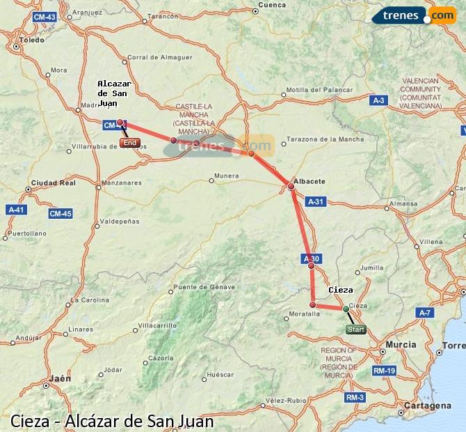 Ingrandisci la mappa Treni Cieza Alcázar de San Juan
