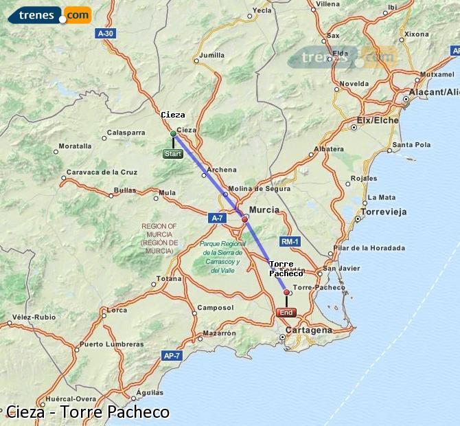 Agrandir la carte Trains Cieza Torre Pacheco