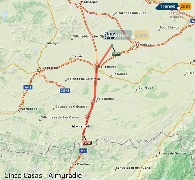 Karte vergrößern Züge Cinco Casas Almuradiel