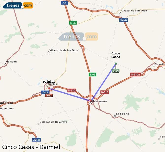 Ingrandisci la mappa Treni Cinco Casas Daimiel