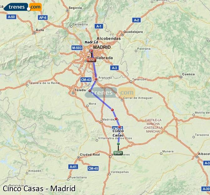 Agrandir la carte Trains Cinco Casas Madrid