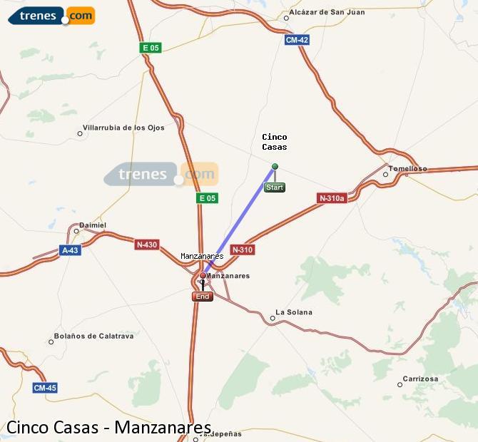 Ampliar mapa Comboios Cinco Casas Manzanares