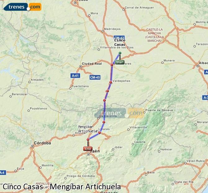 Ampliar mapa Comboios Cinco Casas Mengíbar Artichuela