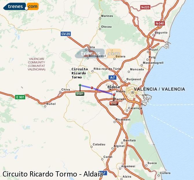 Enlarge map Trains Ricardo Tormo Circuit to Aldaia