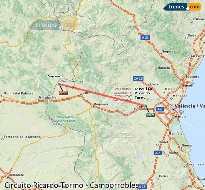 Ampliar mapa Trenes Circuito Ricardo Tormo Camporrobles