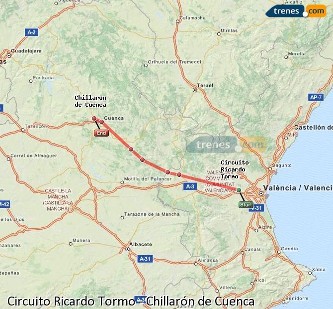 Ingrandisci la mappa Treni Circuito Ricardo Tormo Chillarón de Cuenca