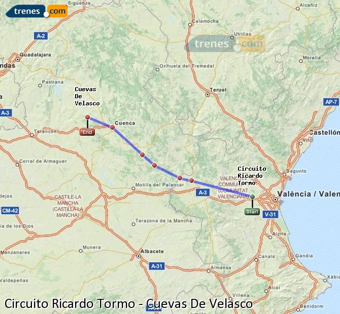 Enlarge map Trains Ricardo Tormo Circuit to Cuevas De Velasco