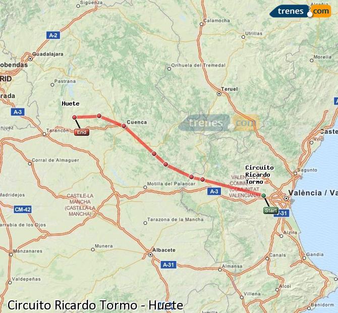 Ingrandisci la mappa Treni Circuito Ricardo Tormo Huete