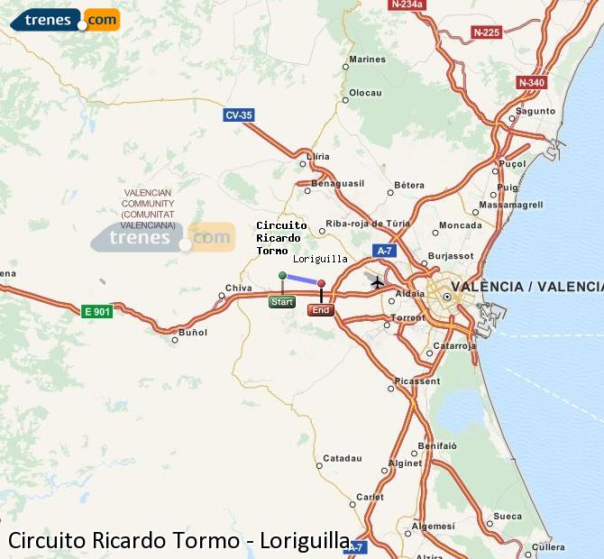 Enlarge map Trains Ricardo Tormo Circuit to Loriguilla