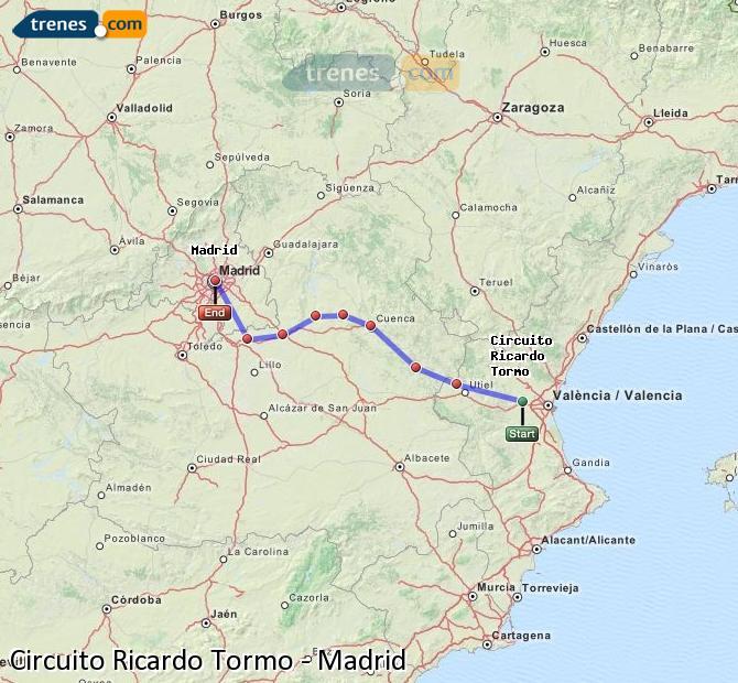 Ingrandisci la mappa Treni Circuito Ricardo Tormo Madrid