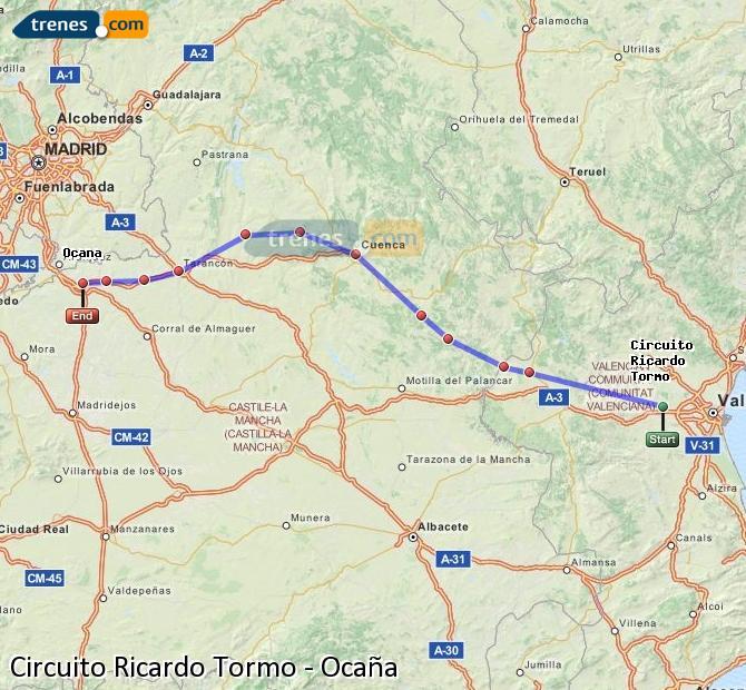 Ampliar mapa Comboios Circuito Ricardo Tormo Ocaña