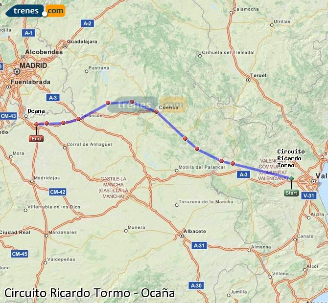 Karte vergrößern Züge Circuito Ricardo Tormo Ocaña