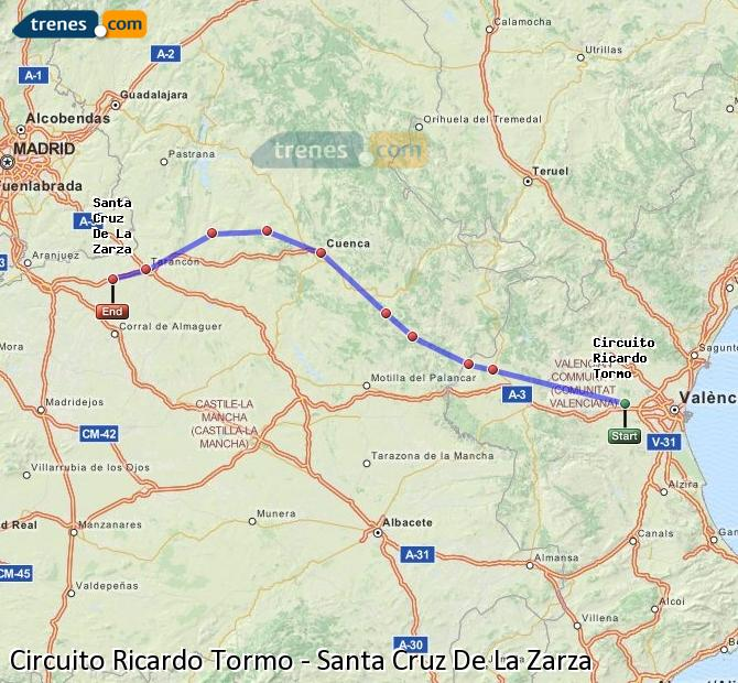 Enlarge map Trains Ricardo Tormo Circuit to Santa Cruz De La Zarza