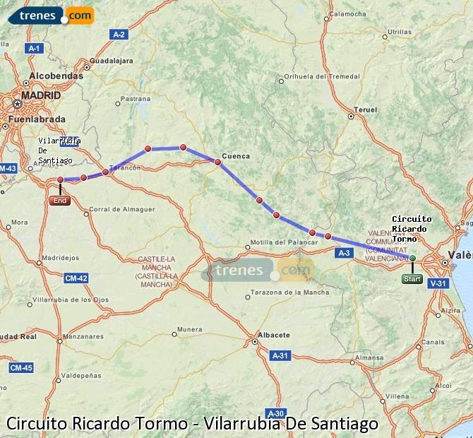 Enlarge map Trains Ricardo Tormo Circuit to Vilarrubia De Santiago