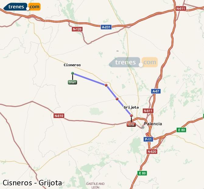 Ingrandisci la mappa Treni Cisneros Grijota