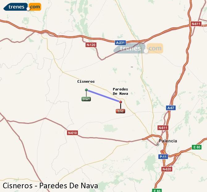 Karte vergrößern Züge Cisneros Paredes De Nava