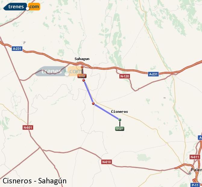 Karte vergrößern Züge Cisneros Sahagún