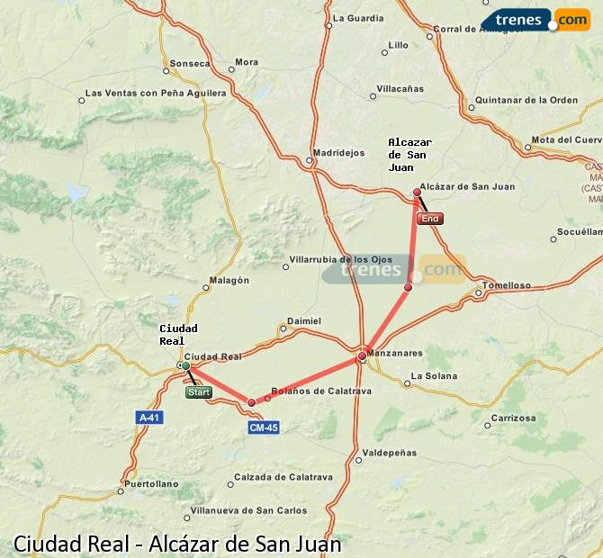 Enlarge map Trains Ciudad Real to Alcazar de San Juan