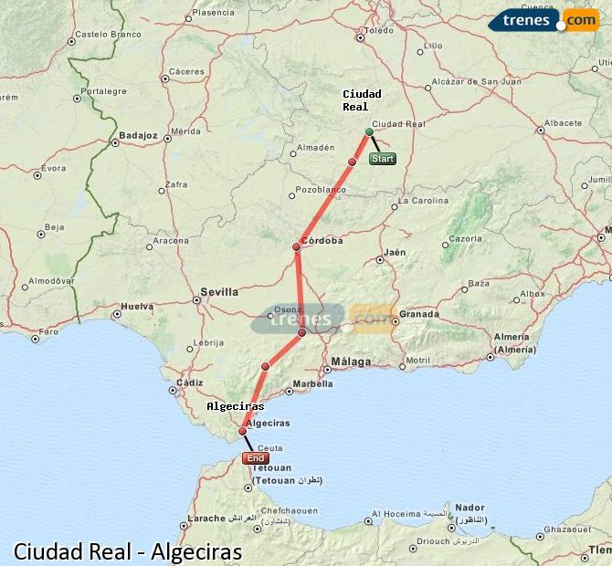 Enlarge map Trains Ciudad Real to Algeciras