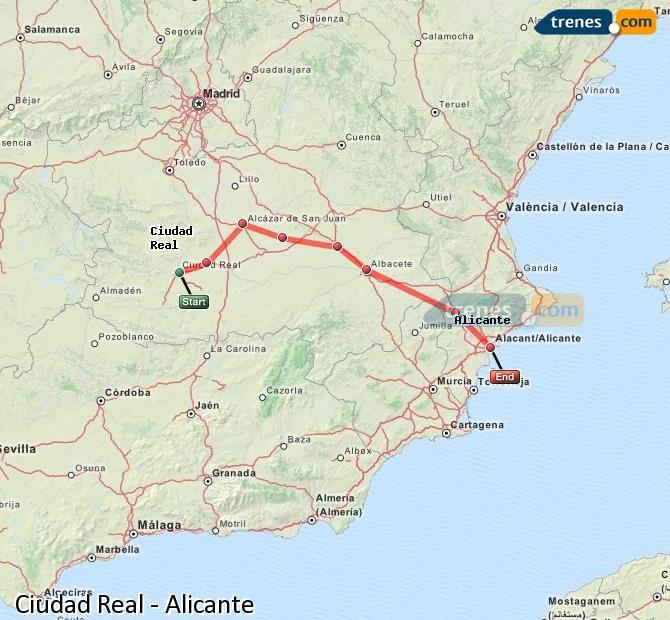 Enlarge map Trains Ciudad Real to Alicante