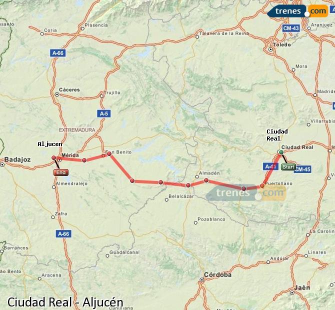 Ingrandisci la mappa Treni Ciudad Real Aljucén