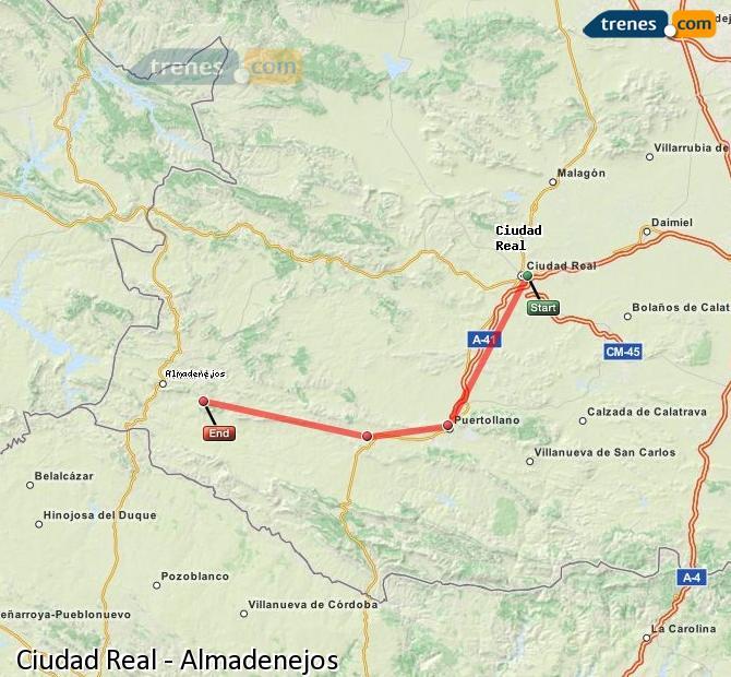 Ampliar mapa Comboios Ciudad Real Almadenejos
