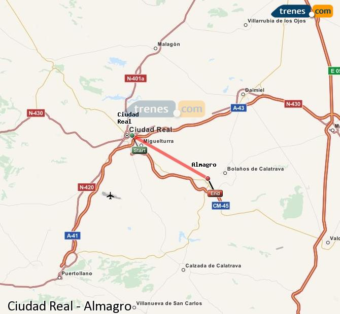 Enlarge map Trains Ciudad Real to Almagro