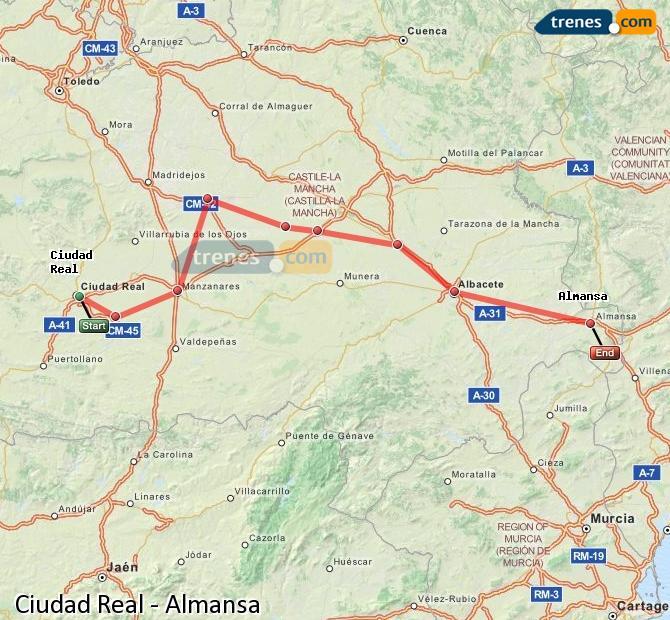 Enlarge map Trains Ciudad Real to Almansa