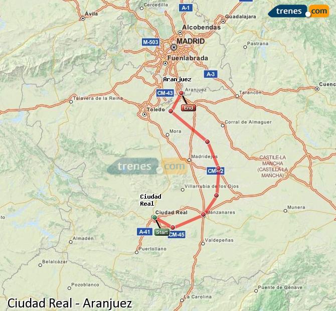 Ampliar mapa Trenes Ciudad Real Aranjuez