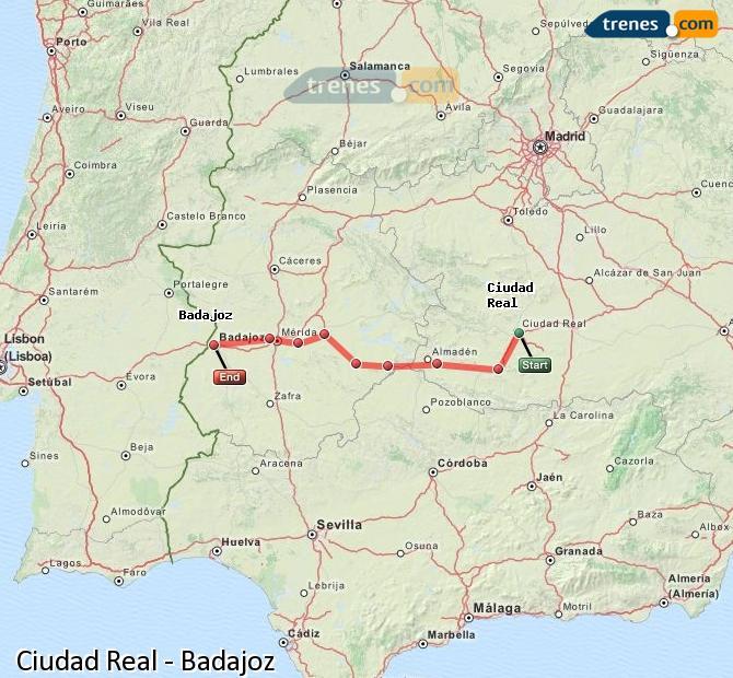 Agrandir la carte Trains Ciudad Real Badajoz