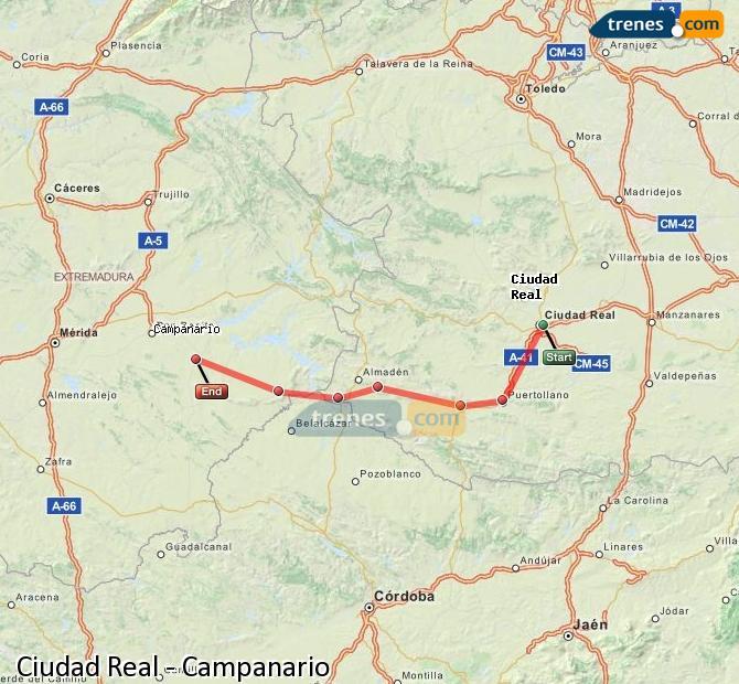 Ampliar mapa Trenes Ciudad Real Campanario