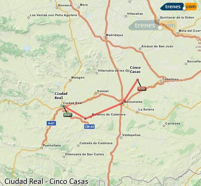 Agrandir la carte Trains Ciudad Real Cinco Casas