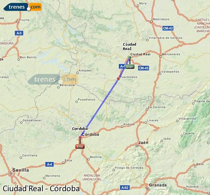 Enlarge map Trains Ciudad Real to Córdoba