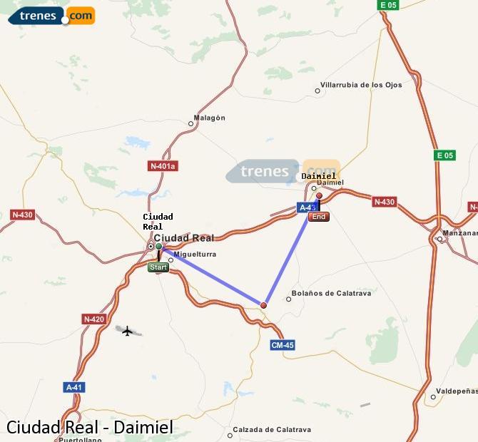 Agrandir la carte Trains Ciudad Real Daimiel