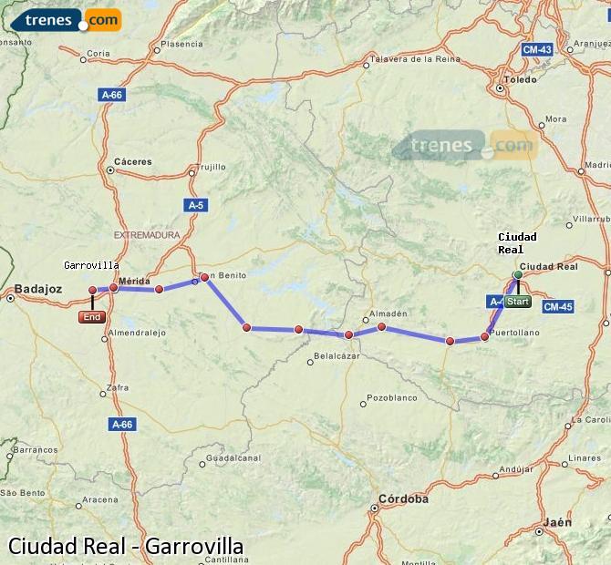 Ingrandisci la mappa Treni Ciudad Real Garrovilla