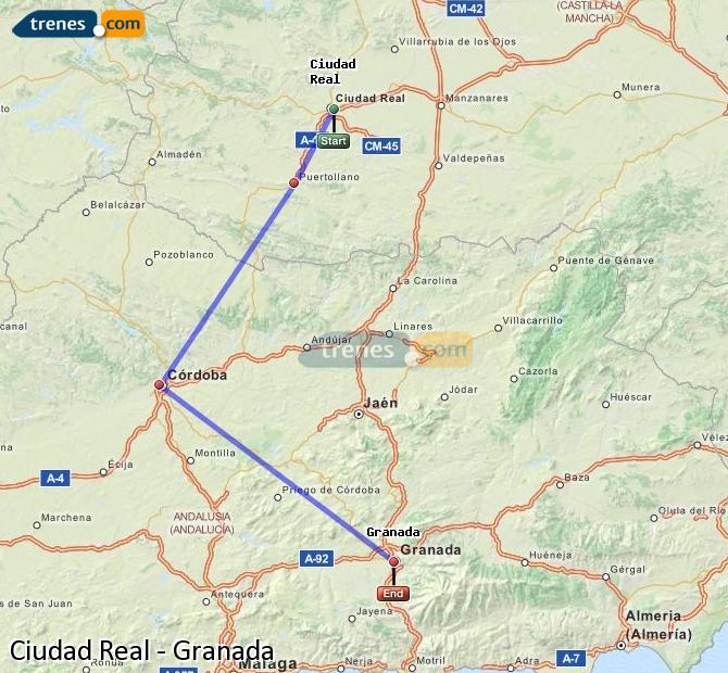 Ampliar mapa Comboios Ciudad Real Granada