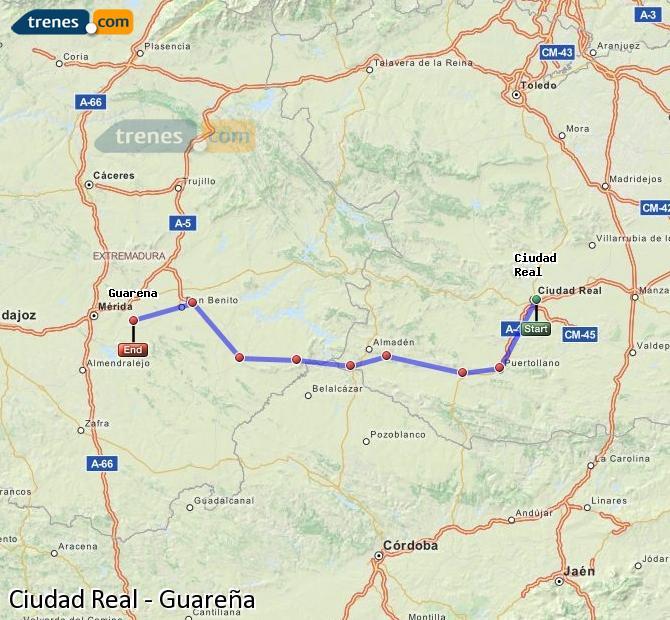 Ampliar mapa Trenes Ciudad Real Guareña
