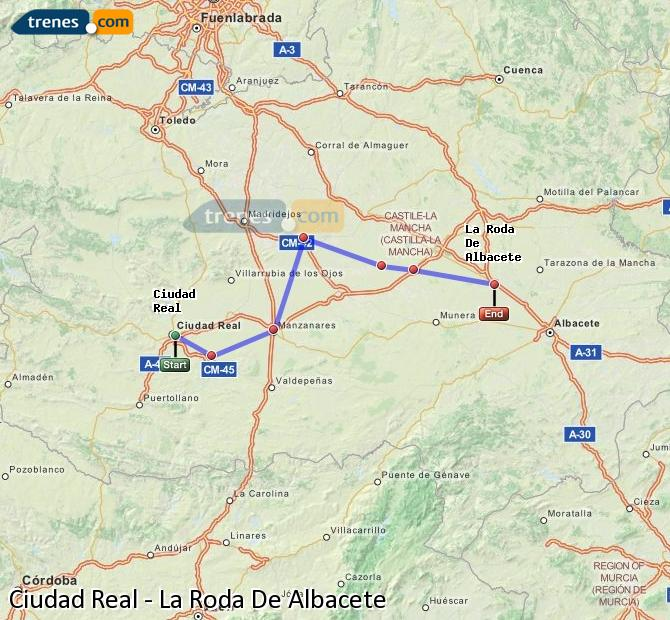 Enlarge map Trains Ciudad Real to La Roda De Albacete