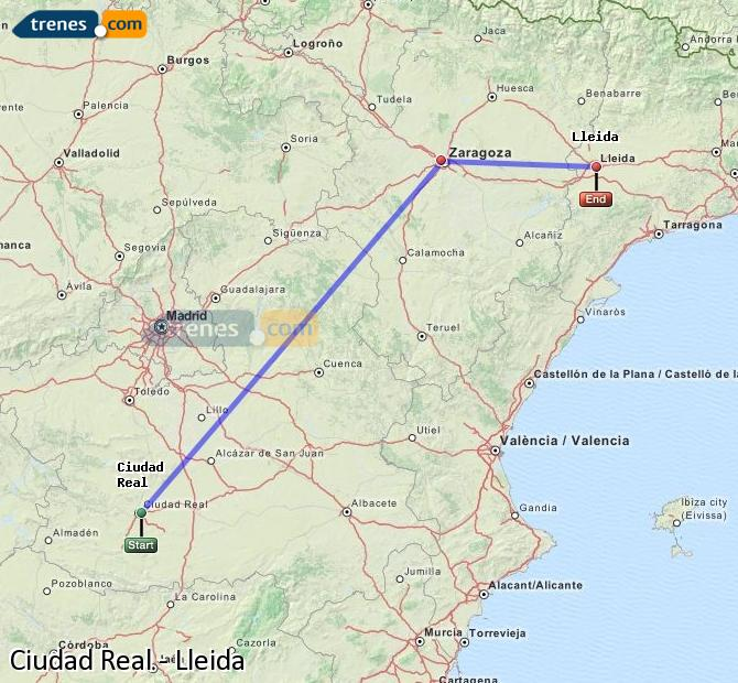 Enlarge map Trains Ciudad Real to Lleida