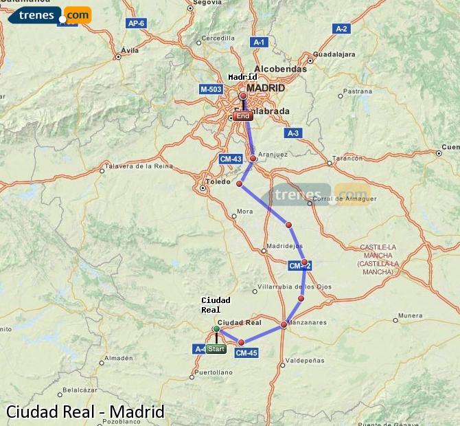 Karte vergrößern Züge Ciudad Real Madrid