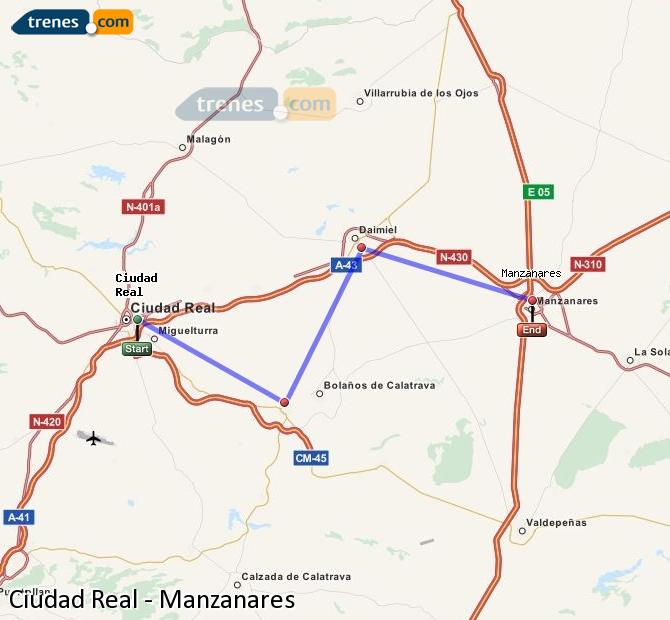 Enlarge map Trains Ciudad Real to Manzanares