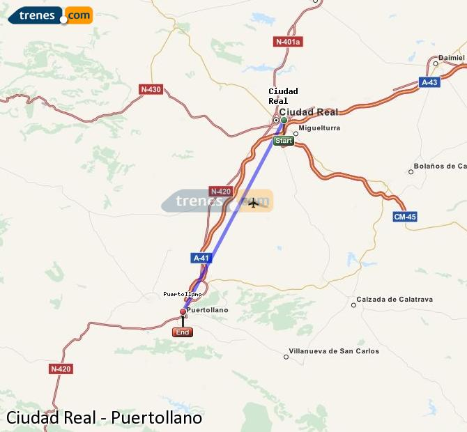 Enlarge map Trains Ciudad Real to Puertollano
