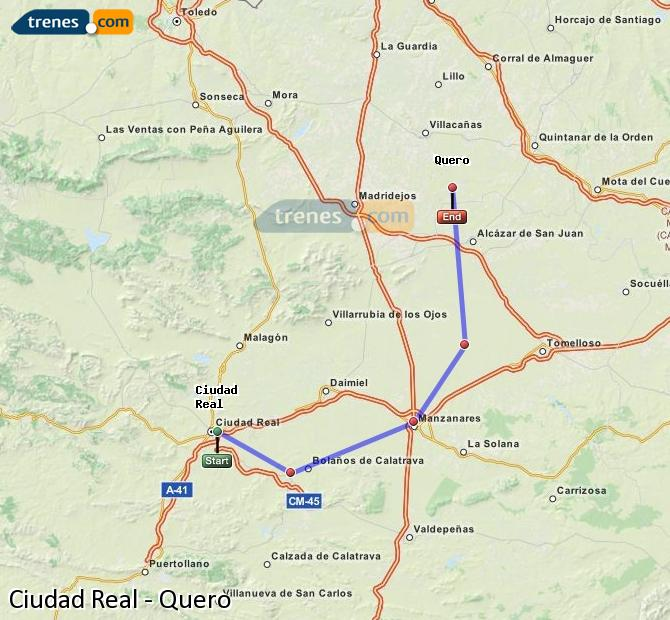 Ingrandisci la mappa Treni Ciudad Real Quero