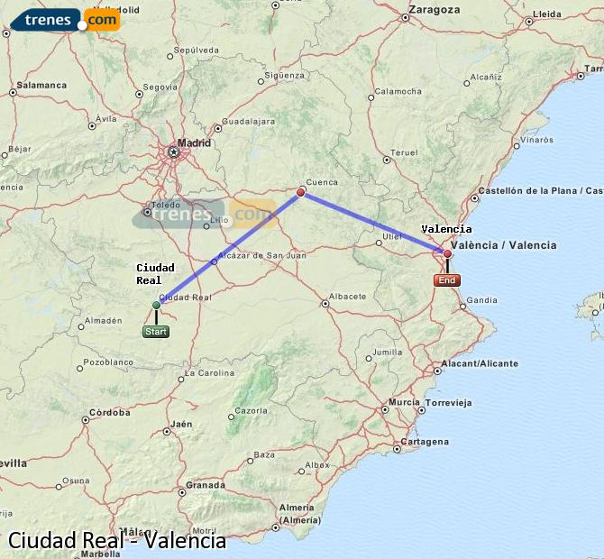 Enlarge map Trains Ciudad Real to Valencia